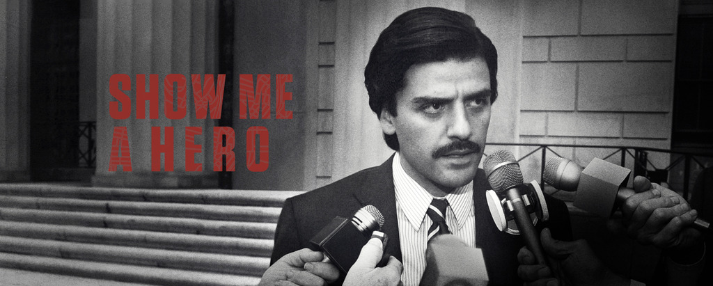 Cover image for the HBO miniseries Show Me a Hero with Nick Wasicsko answering questions at a microphone.
