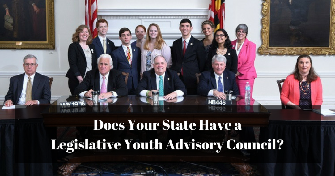 "Members of the MYAC standing with members of the Maryland legislature, along with a label asking, ""Does your State Have a LYAC?"""