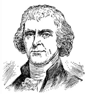 Drawing of Thomas Jefferson in black and white