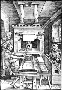Woodcarving of three men operating a Gutenberg printing press.