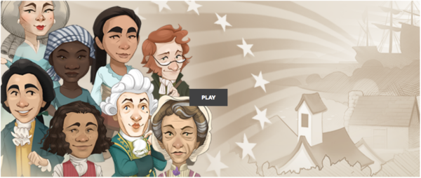 "Screenshot of the game for a Race to Ratify Review, with a picture of a diverse group of characters on the screen and the ""Play"" button."