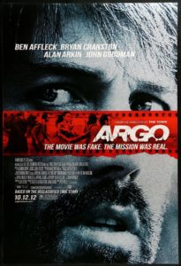 Argo movie poster, a government movie about the CIA and foreign policy.