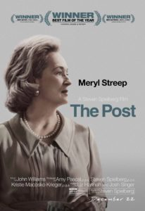 Movie poster for The Post, a government movie starring Meryl Streep and Tom Hanks.
