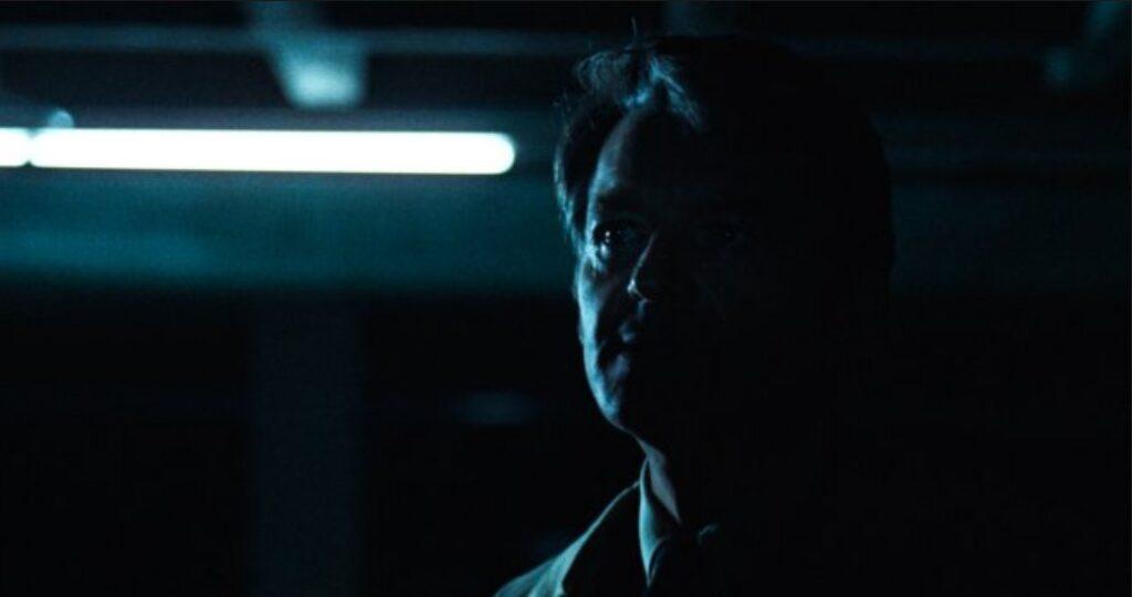 Deep Throat, aka Mark Felt, in a shadowy garage in All the President's Men.
