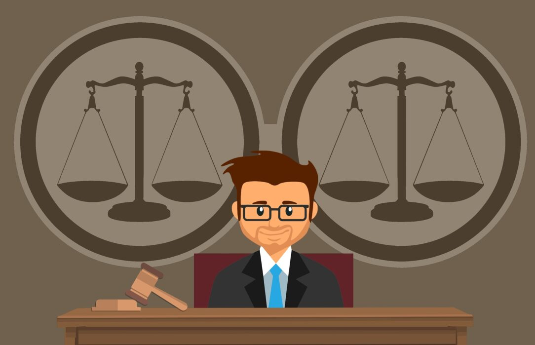 A cartoonish picture of a judge with the scales of justice behind him. In Flunking Democracy, Michael Rebell argues that courts can force states to fix civics education.