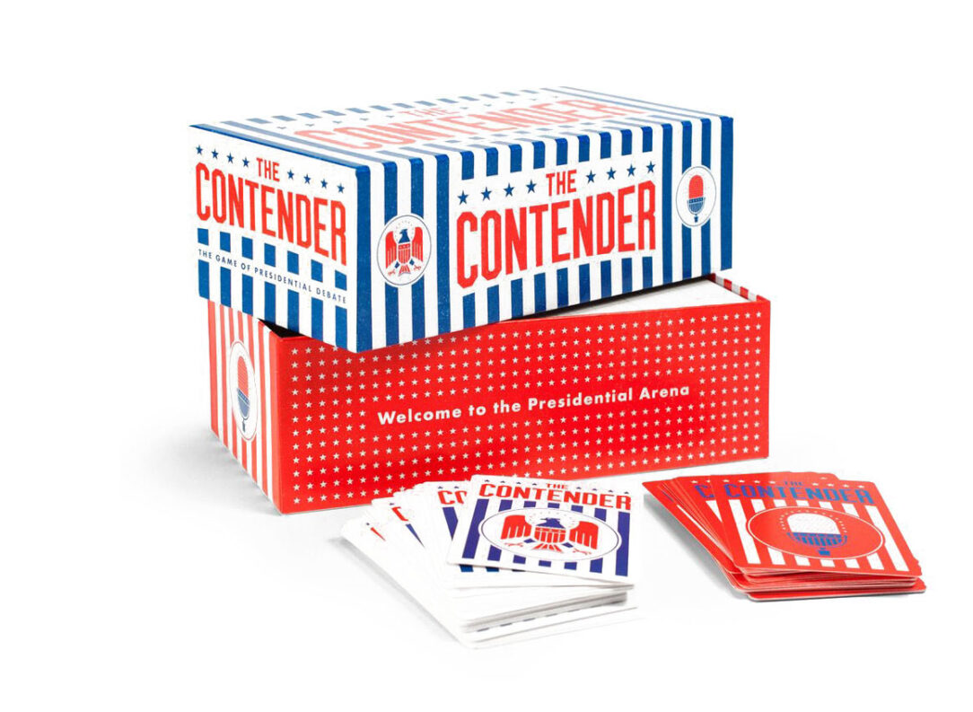 "Box and some contents of ""The Contender,"" the Game of Presidential Debate, a great civics game."