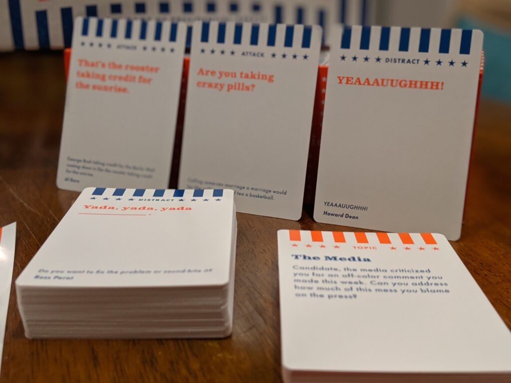 "A few examples of the ""Argument Cards"" in the Contender including ""YEAAAUUGHHH,"" ""Are you taking crazy pills,"" and ""Yada, yada, yada."""