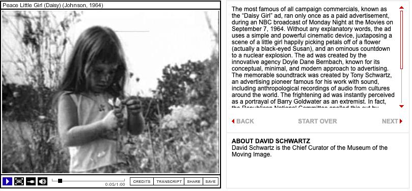 """Screenshot of the """"Daisy Girl"""" campaign ad from the 1964 Presidential election."""