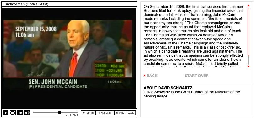 Screenshot of an Obama campaign ad targeting John Campaign.