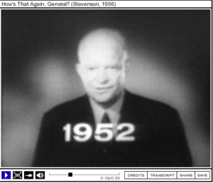 Screenshot of campaign ad with President Dwight Eisenhower speaking into the camera.