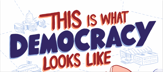 """This is What Democracy Looks Like,"" from the cover of a comic book for teaching civics."