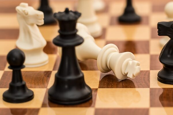 A chess Board with the white king down. American democracy isn't like chess, it's a game without end.