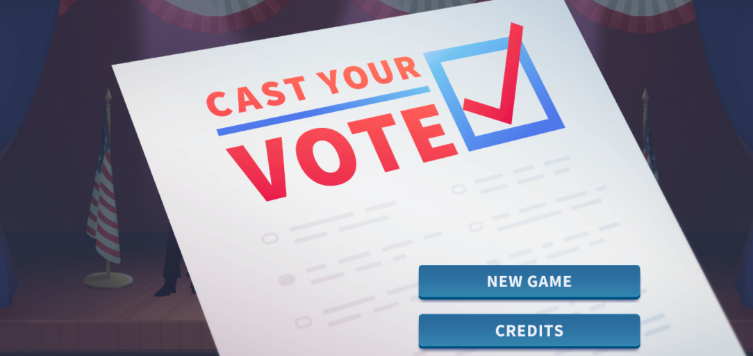Start screen of the iCivics election game, Cast Your Vote