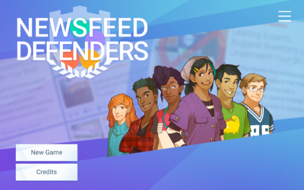 Starting screen for NewsFeed Defenders, an iCivics game about media literacy.