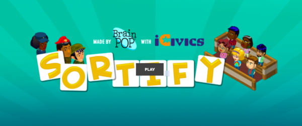 Cover screen for the game Sortify by iCivics about the Constitution
